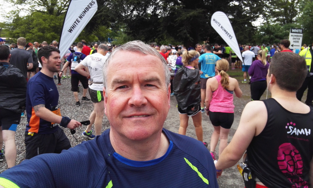 John soaks up the atmosphere at the start of the Stirling Marathon